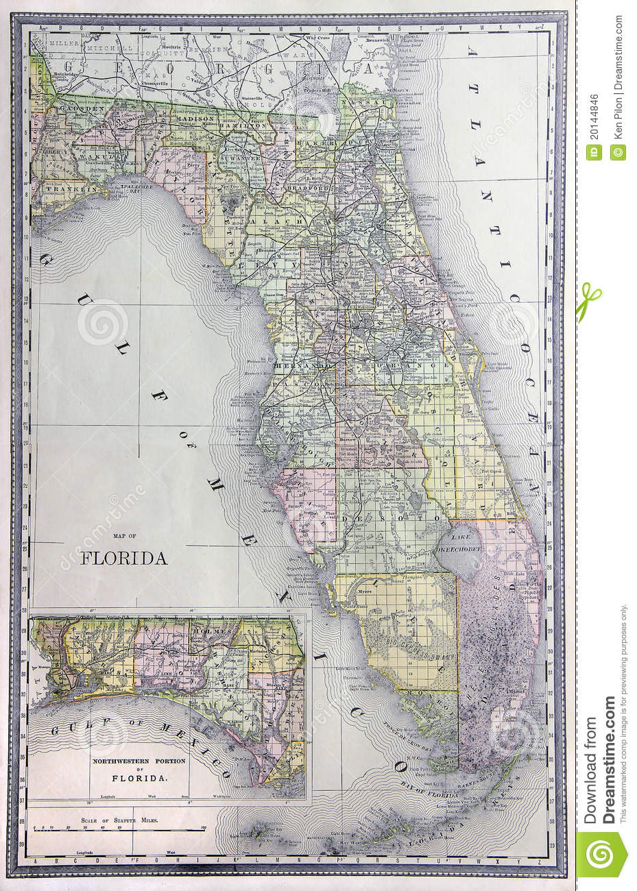 Antique Map Of Florida.Old Map Of Florida Stock Photo Image Of Paper Atlas 20144846