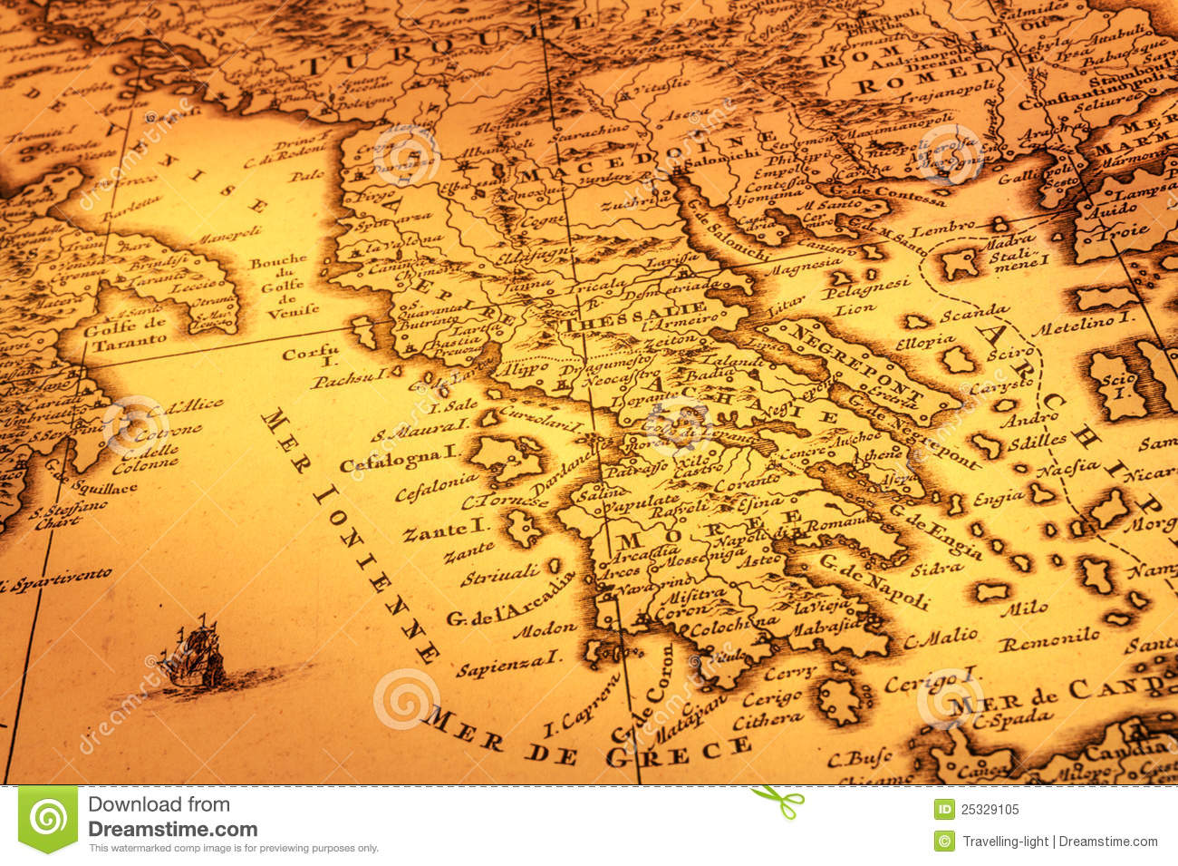 Old Map Of Greece Royalty Free Stock Photo - Image: 25329105