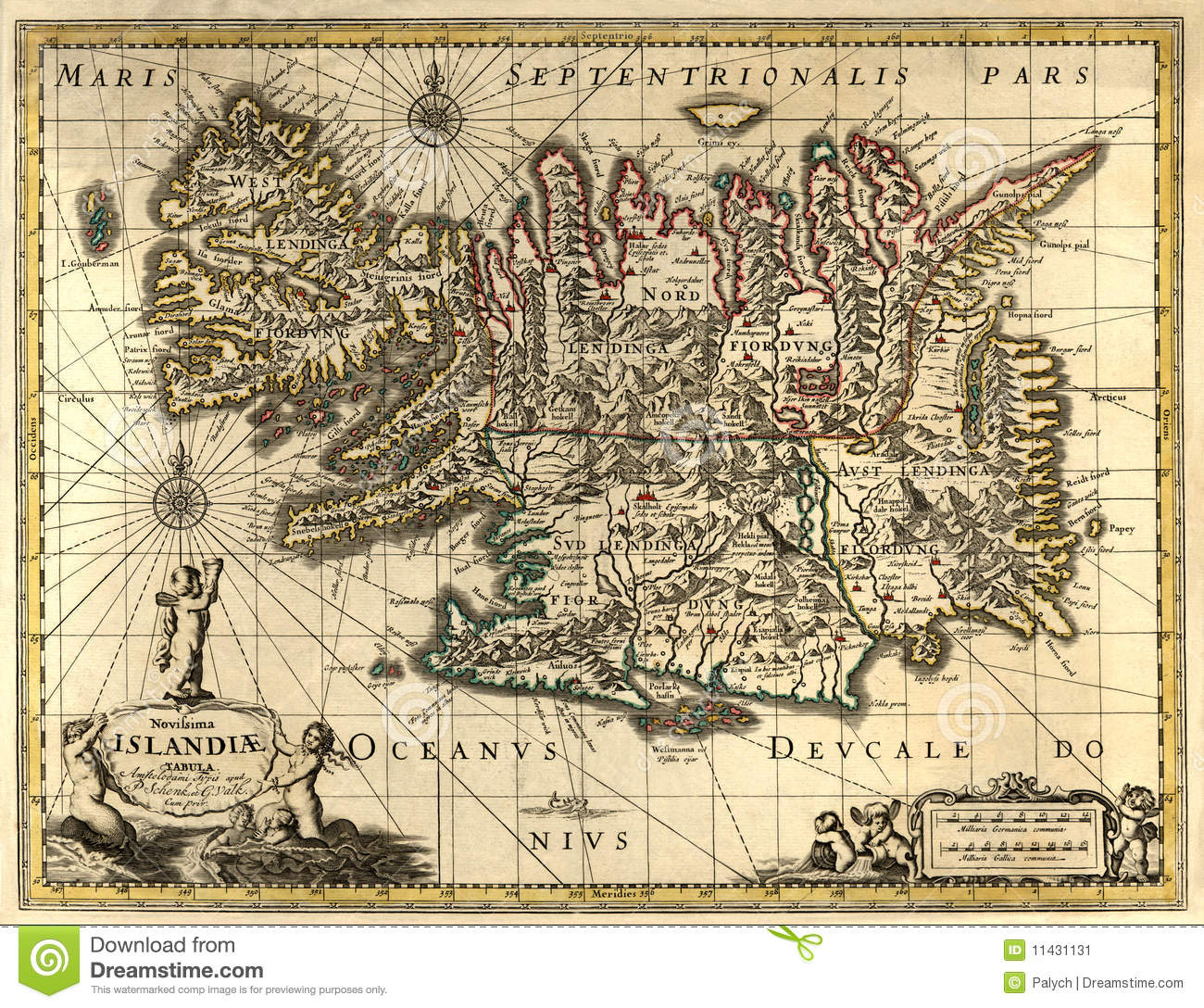 Old Map Of Iceland Stock Image - Image: 11431131