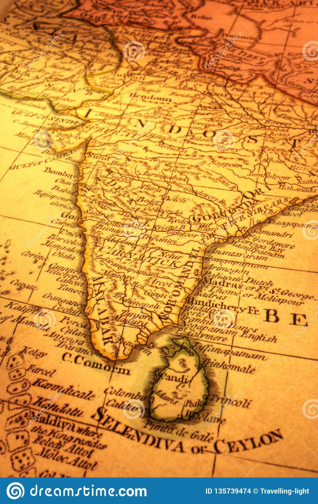 Madras India Map.Old Map Of India And Sri Lanka Stock Photo Image Of India Ancient