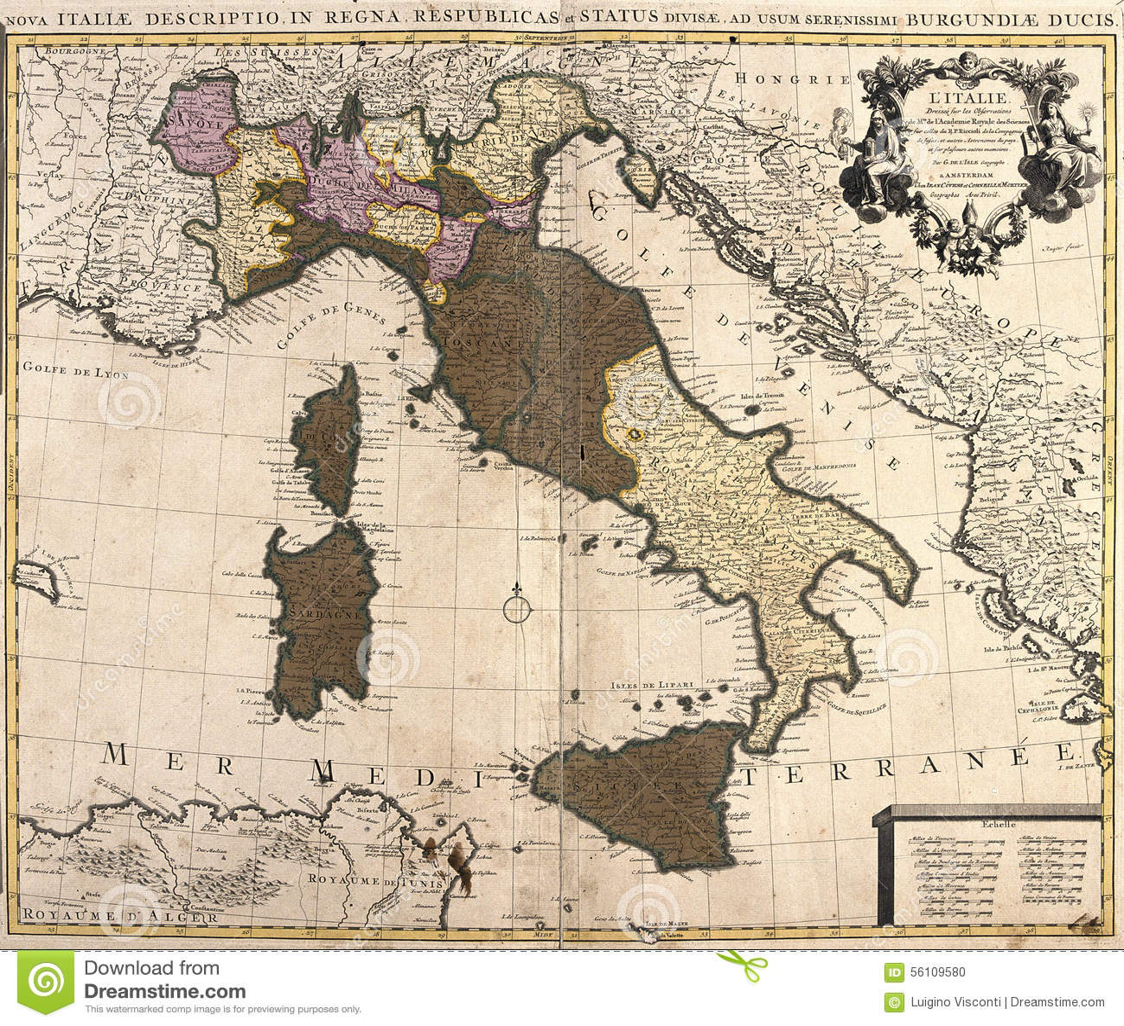 Old Map Of Italy Stock Illustration Illustration Of Peninsula