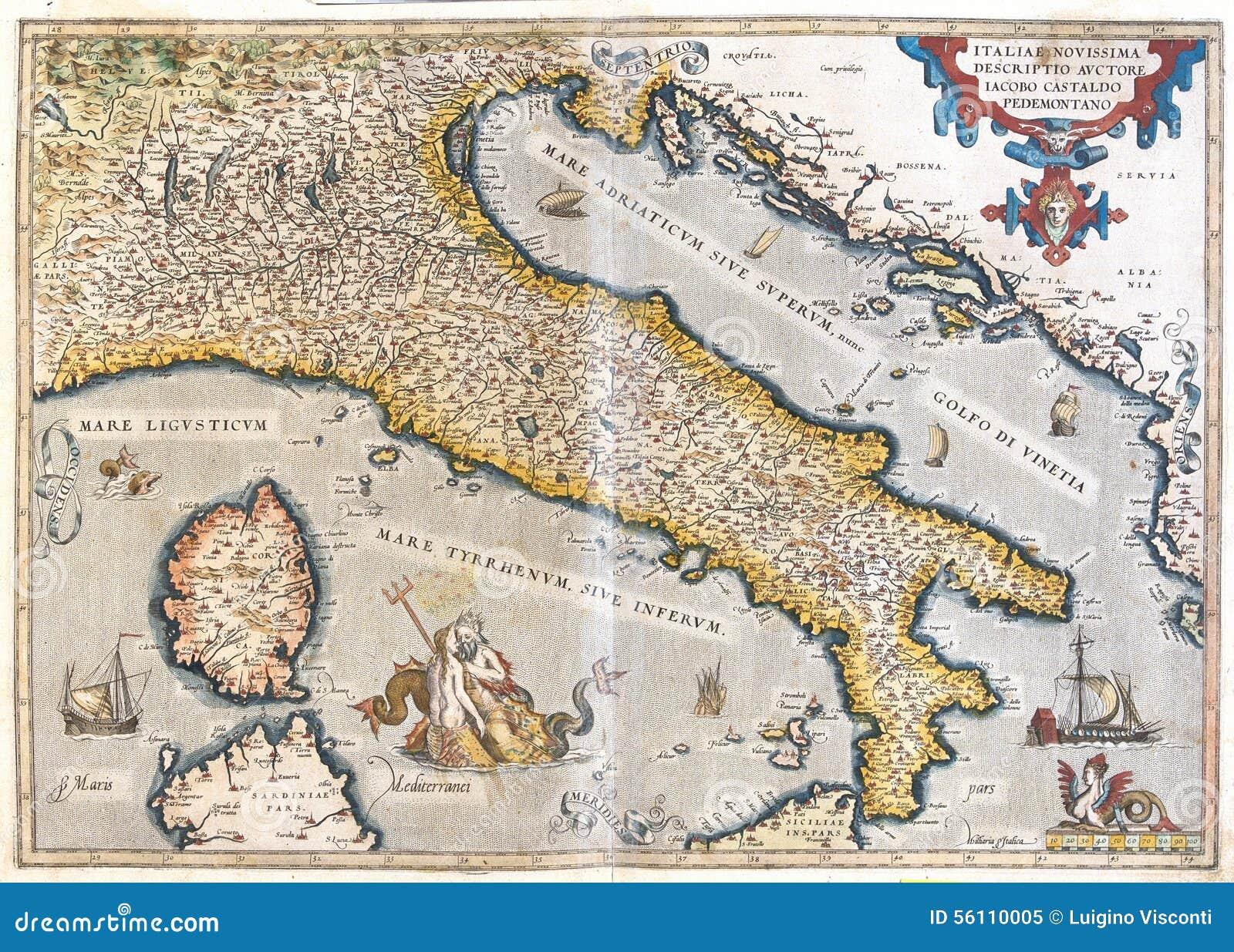 Old Map Of Italy Stock Illustration Illustration Of Mediterranean