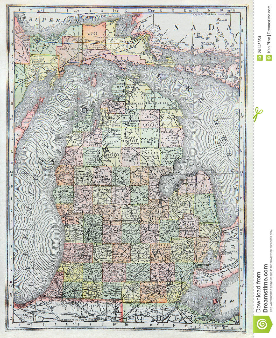 Old Map Of Lower Michigan Stock Photo Image Of Huron 20145854