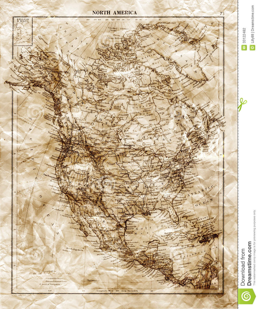 Old Map Of North America Stock Photography Image - Old maps of america