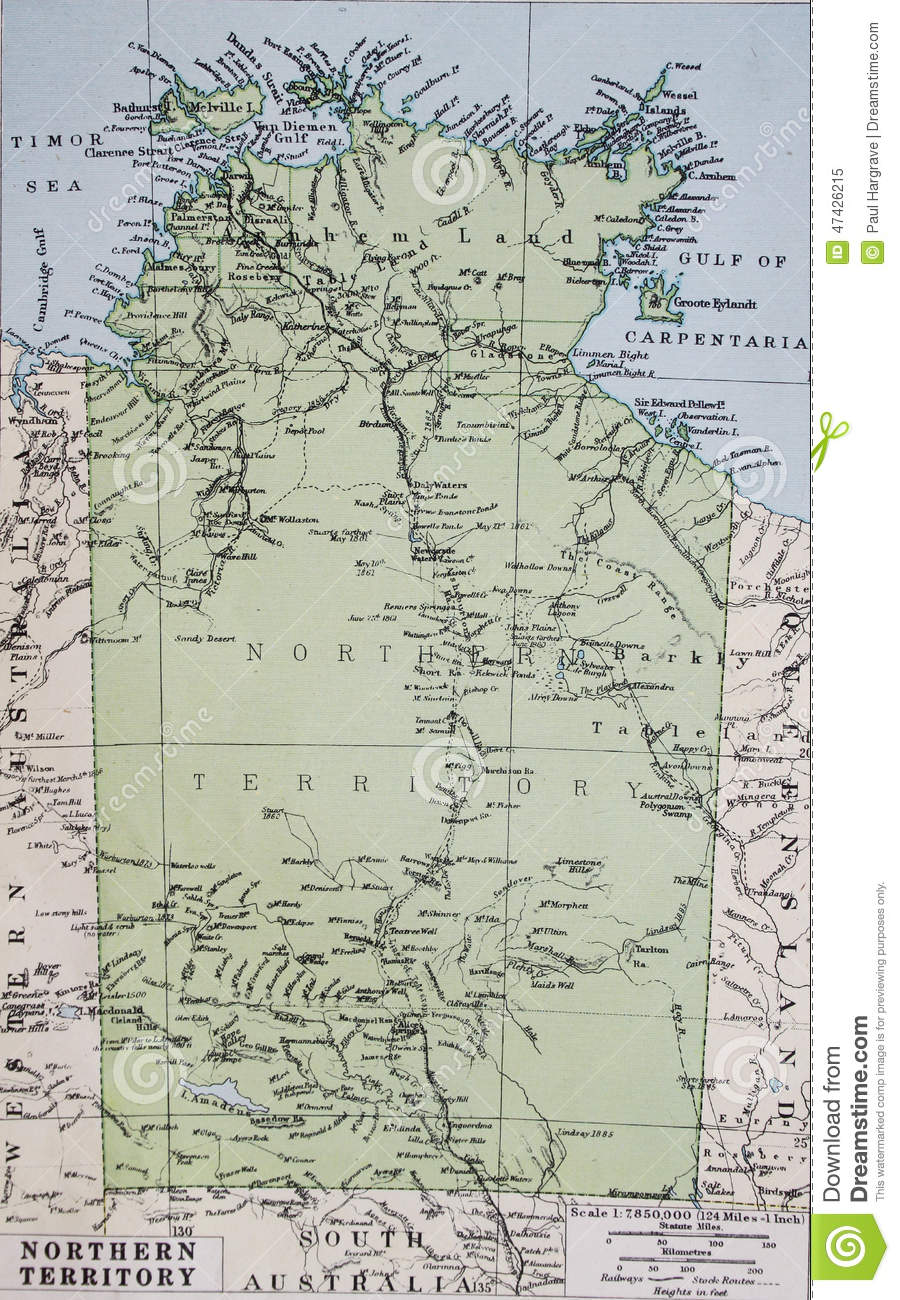 Map Northern Australia.Old 1945 Map Of Northern Territory Australia Stock Illustration