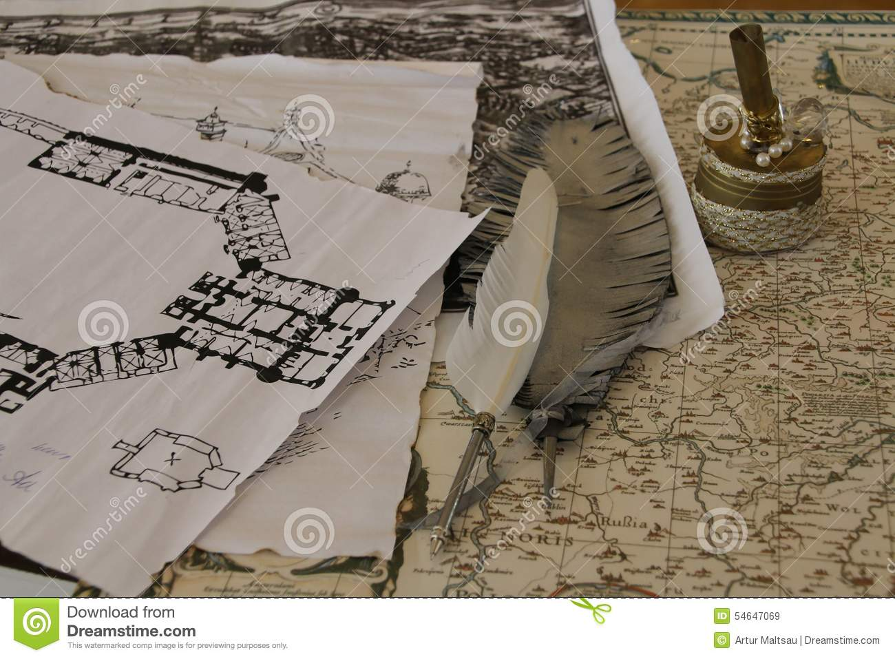 Old map a pen and drawing of house stock photo image for House map drawing