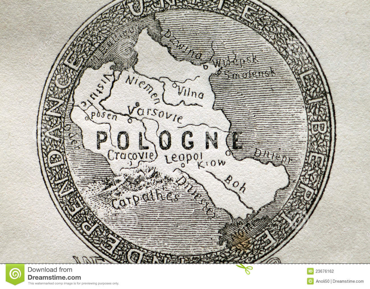 Old Map Of Poland Stock Photo Image Of Inscription Paper 23676162