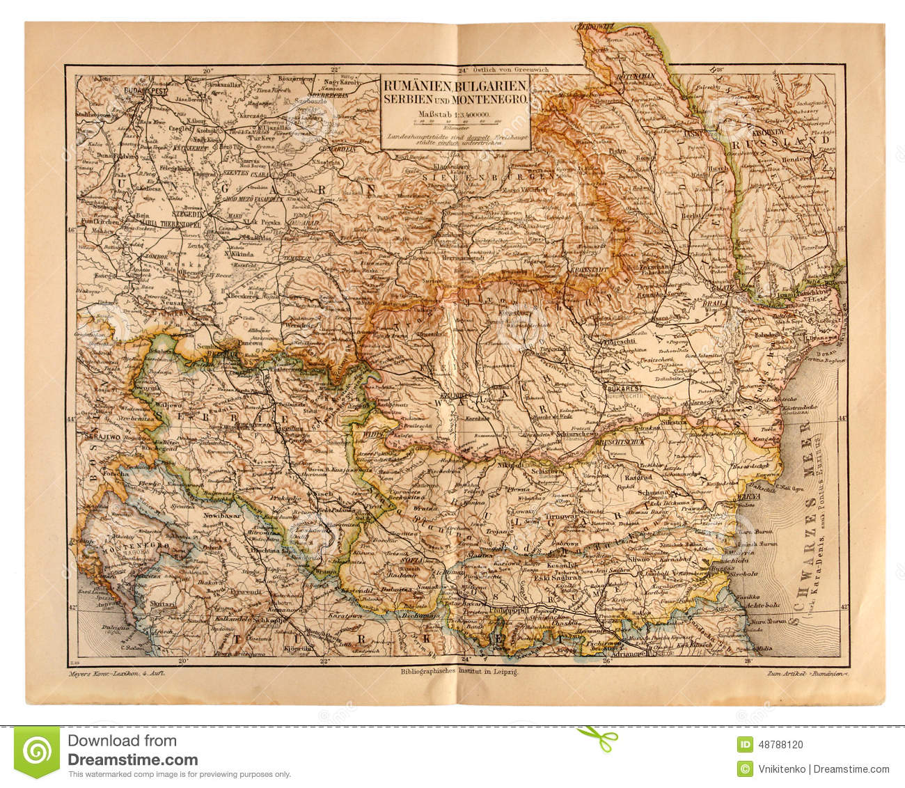 Old Map Of Romania Bulgaria Serbia And Montenegro Editorial - Montenegro map download