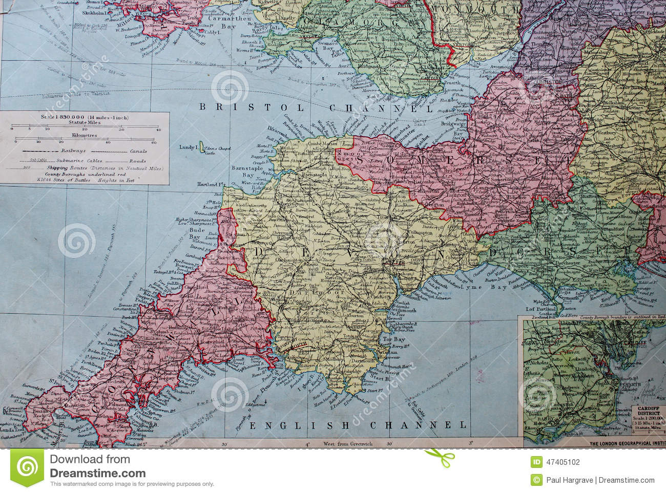Map Of The South West Of England.Old 1945 Map Of The South West Of England Stock Illustration