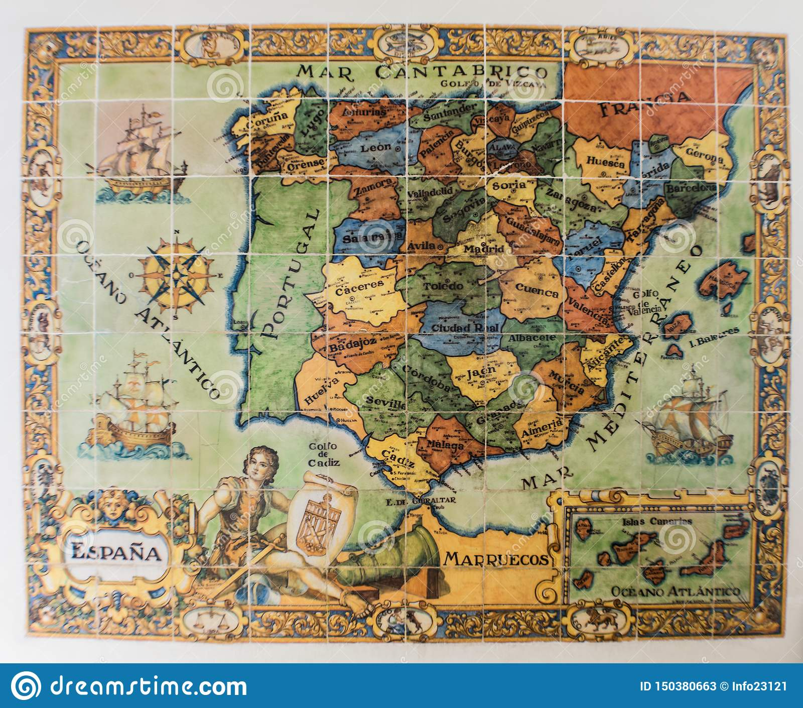 Map Of Spain Old.Old Map Of Spain And Portugal Stock Image Image Of Geography
