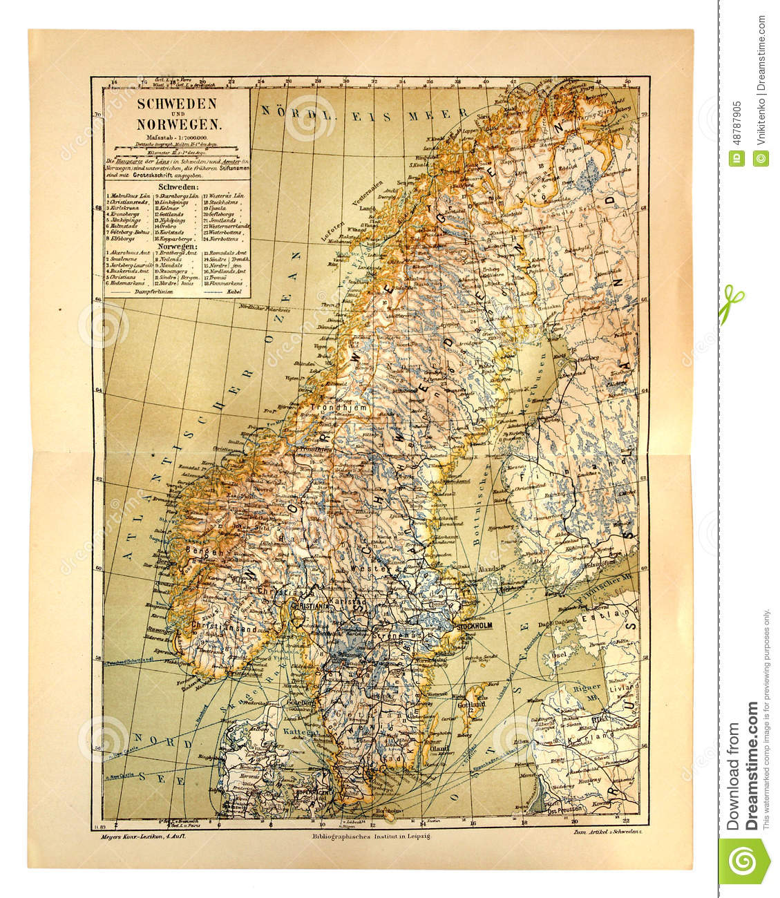 Old Map Of Sweden And Norway Editorial Image Image - Norway map to print
