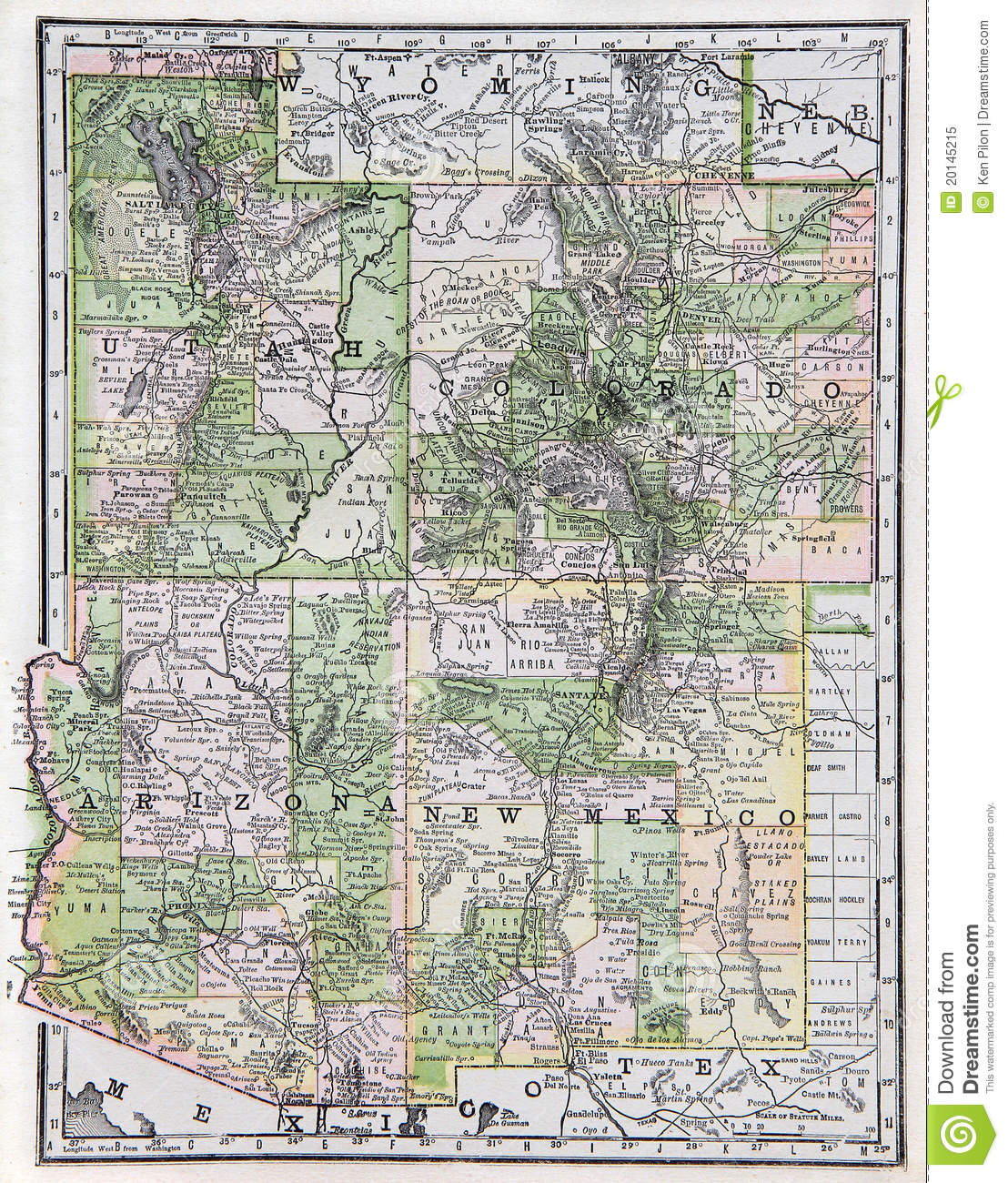 Map Of Southwest Arizona.Old Map Of The Us Southwest Stock Image Image Of State Southwest