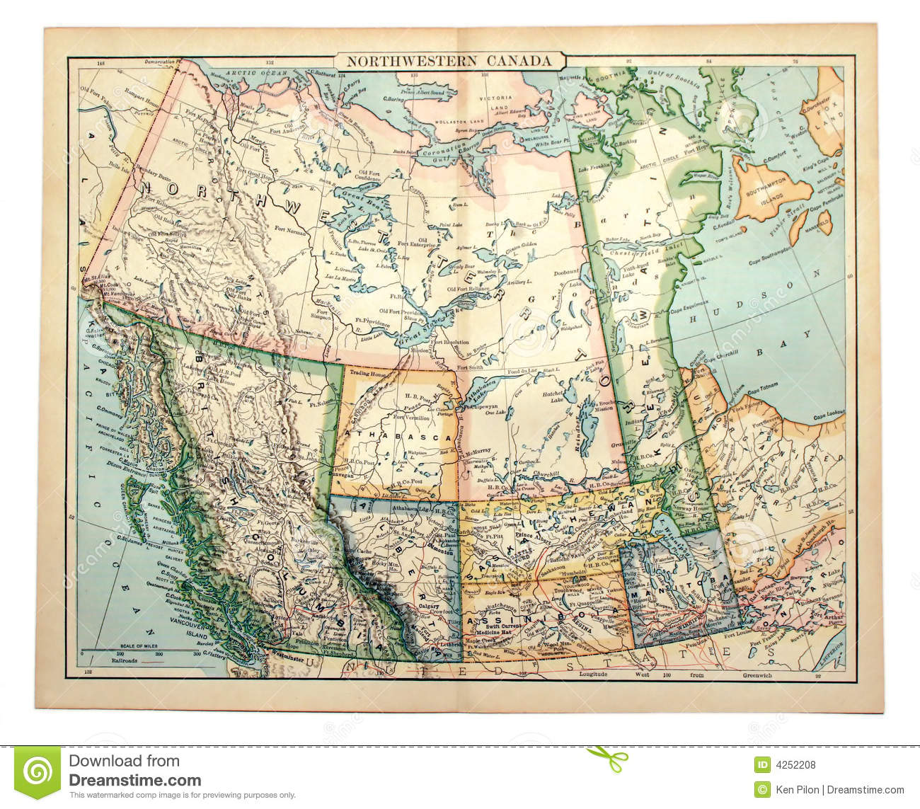 Free Map Of Western Canada Old Map of Western Canada. stock photo. Image of exploration   4252208