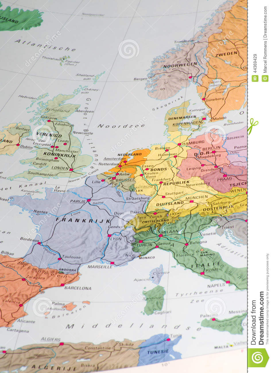 Old map of western europe stock image. Image of britain - 44369429