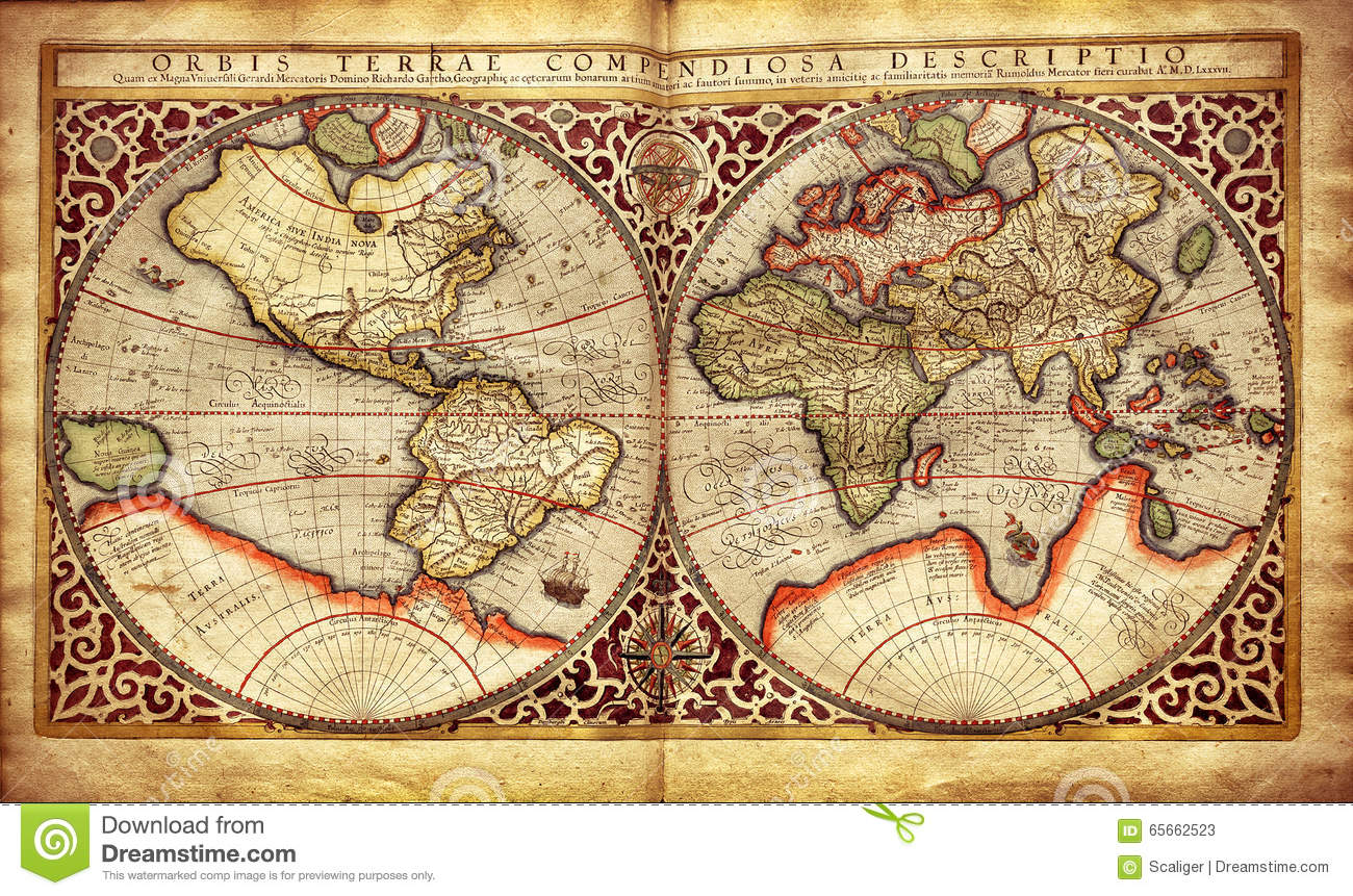 Old map of the world printed in 1587 stock image image of royalty free stock photo sciox Choice Image