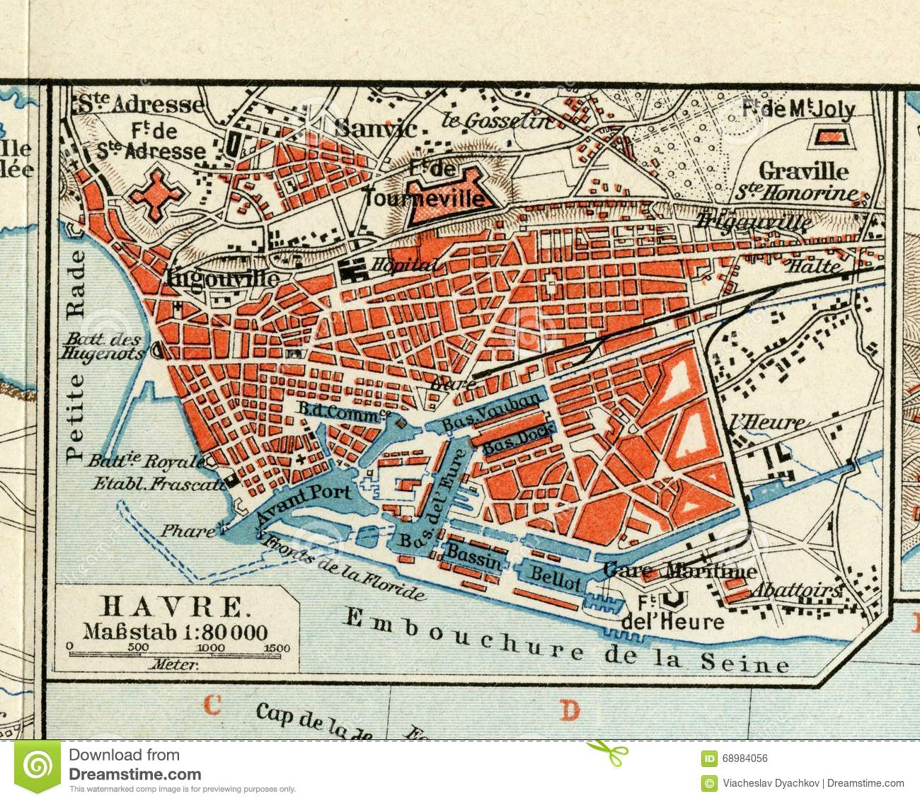 Map Of France Le Havre.Old Map Of 1890 The Year With The Plan Of The French City Of Le