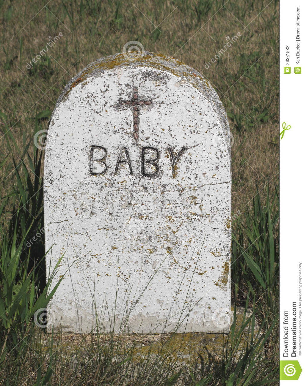 Old marble tombstone for a baby.
