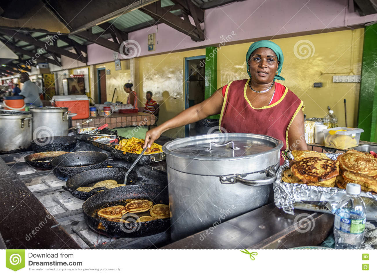 Old Market Food Vendor Cooking In Curacao Editorial Image