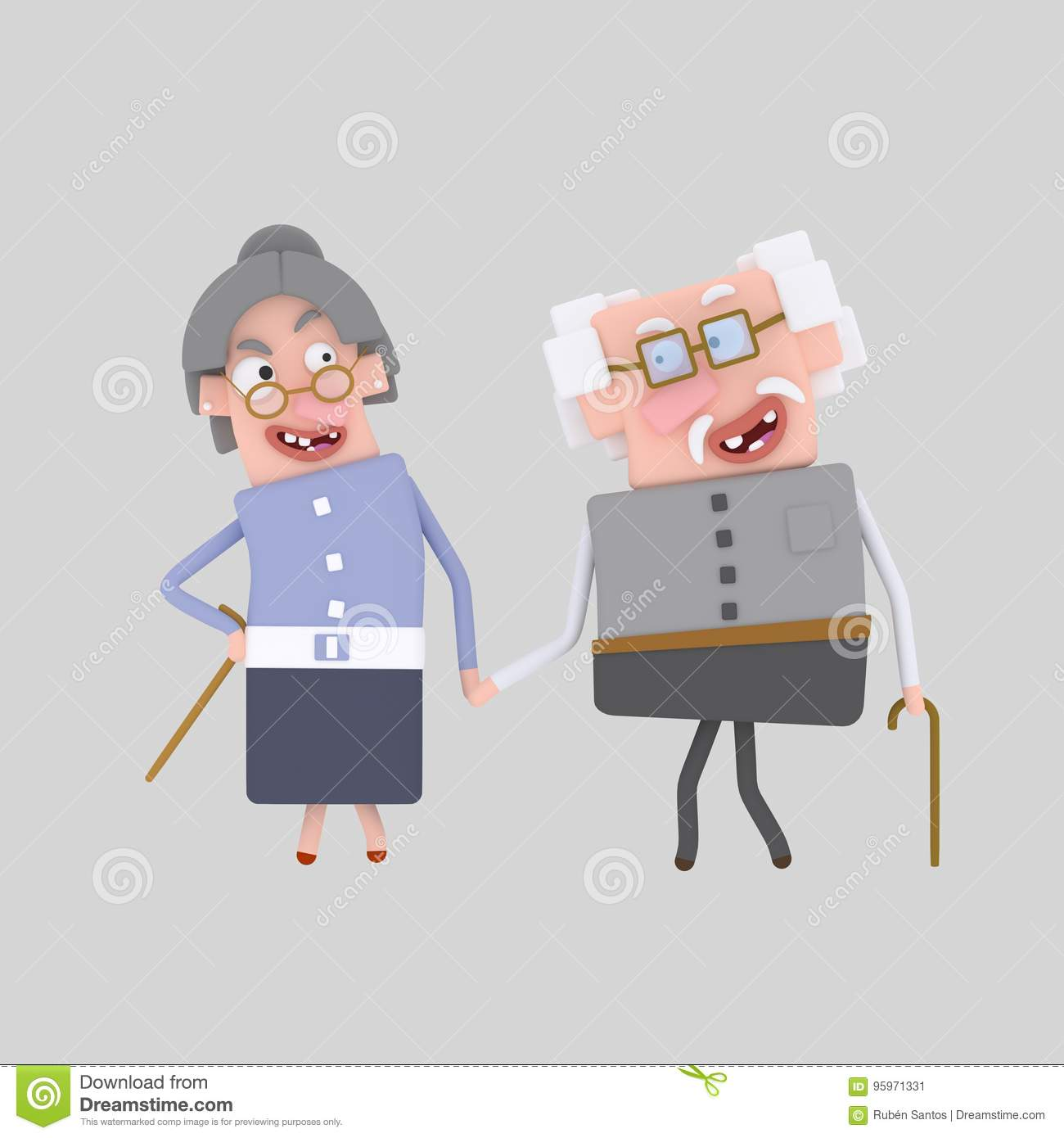 Old marriage 3D stock illustration  Illustration of elder - 95971331