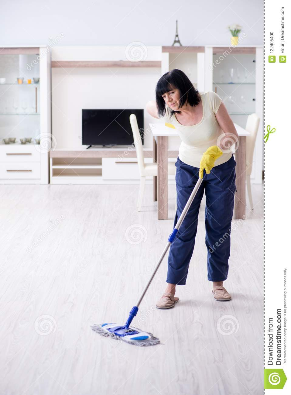 The Old Mature Woman Tired After House Chores Stock Photo Image