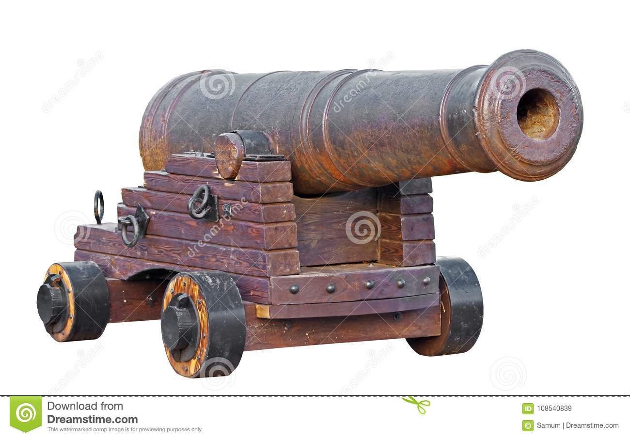 Old Medieval Artillery Canon On White Stock Image - Image of