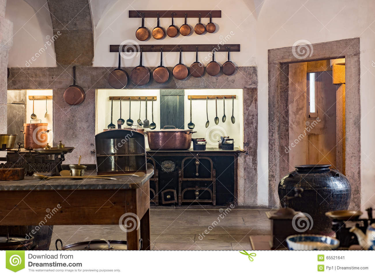 Old Medieval Castle Kitchen With Equipment Stock Image