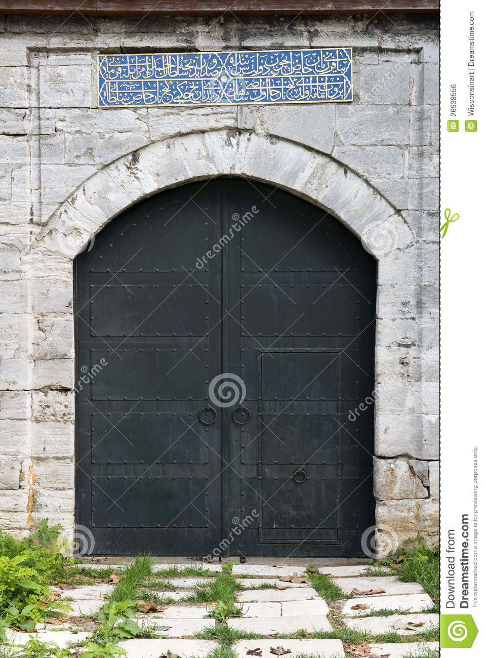 Old Medieval Castle Stone Gate With Iron Door Stock Photo