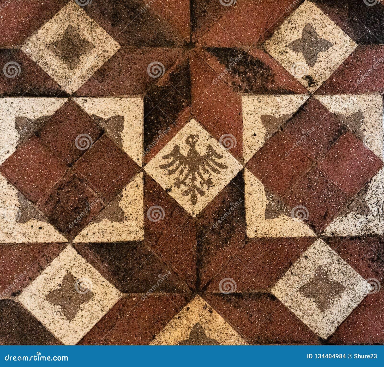 Old Medieval Floor Tiles Pattern Texture