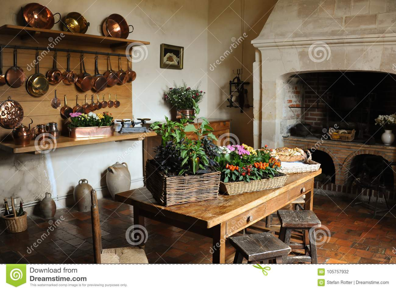 Old Medieval Kitchen Copper Pans Fireplace Table Chairs