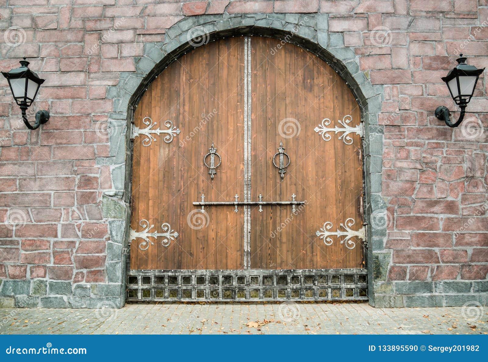 Old medieval wooden gate
