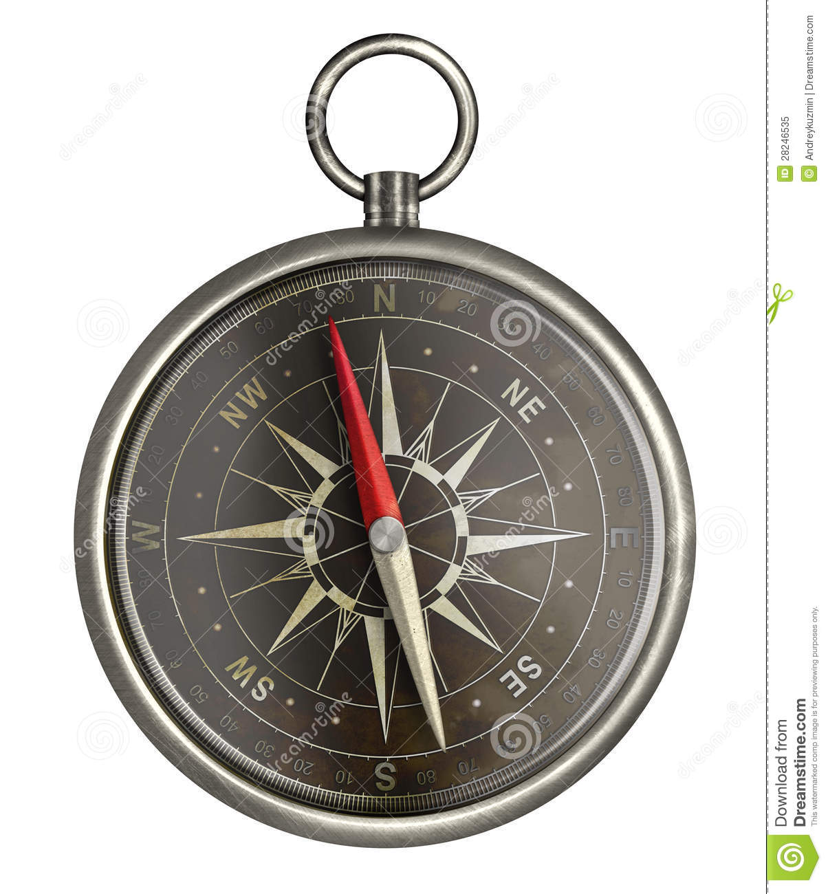 Old Metal Compass With Black Scale Isolated Stock ...