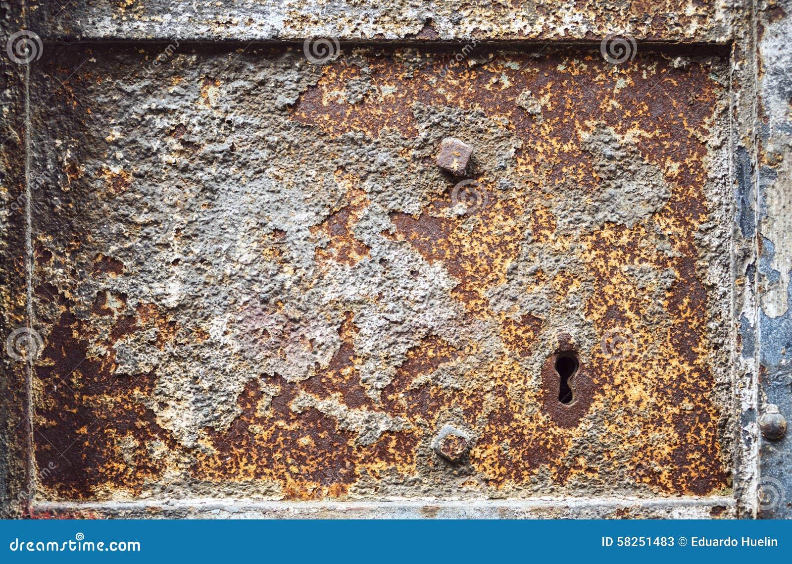 Old metal door texture with rust