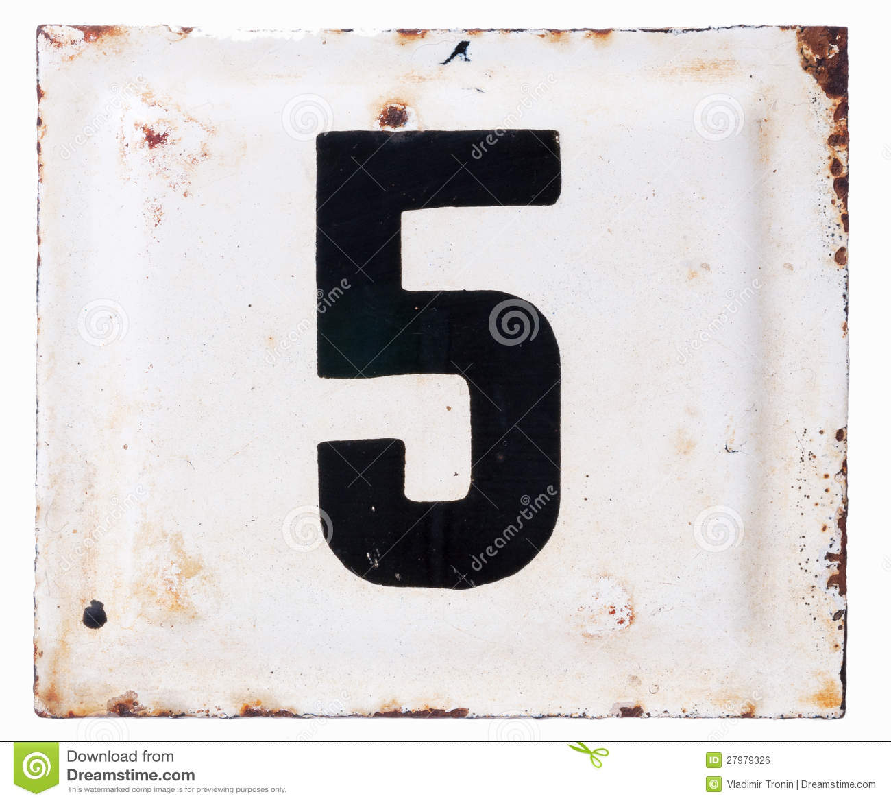 Old metal enamel plate with number five