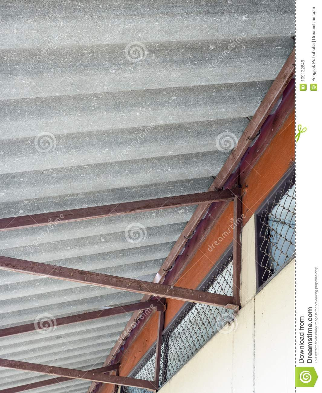 Old Metal Frame For The Fiber Cement Roof Stock Photo Image Of Grille Canteen 109132646