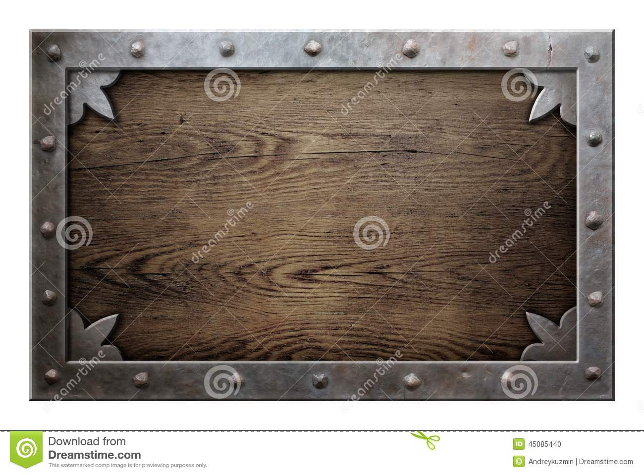 old metal frame over wooden background stock photo