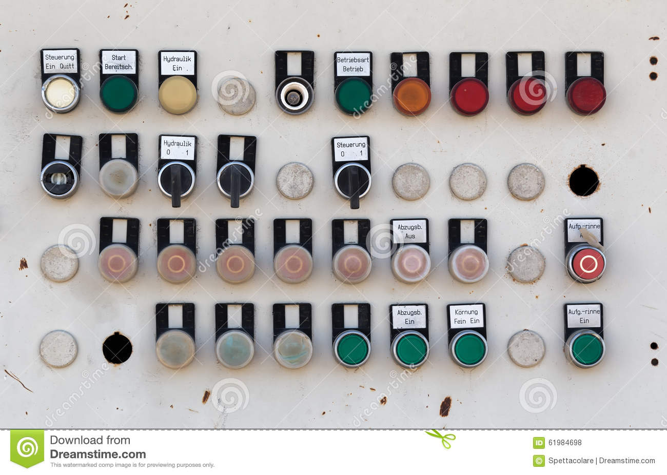Time Control Panel : Old metal machine control panel stock photo image