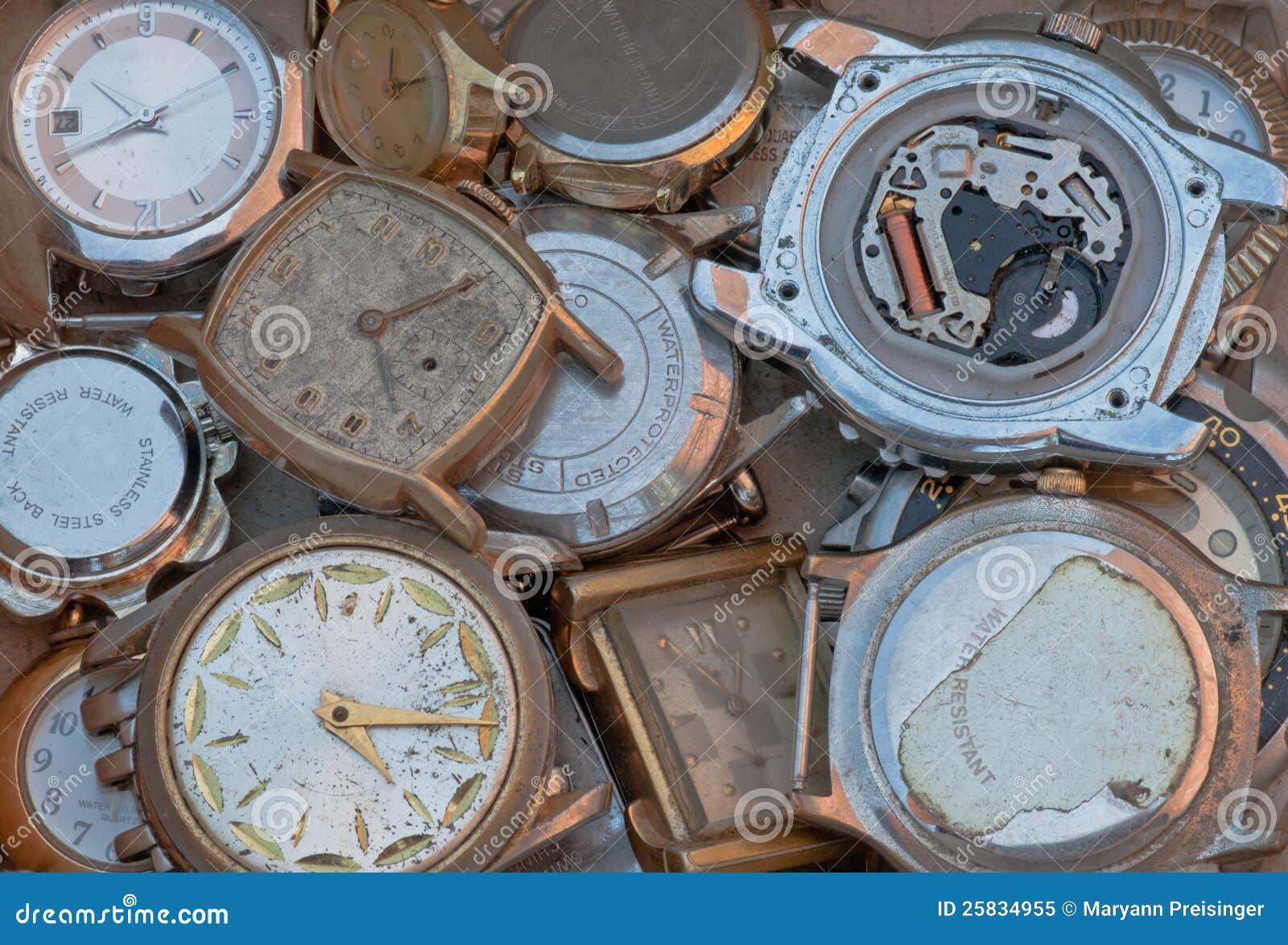 Watch wrist parts - Old Metal Parts Scrap Wrist Watch Faces Closeup