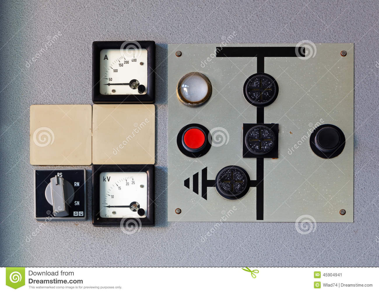 Old Control Panel Levers : Old meter on the control panel stock image of