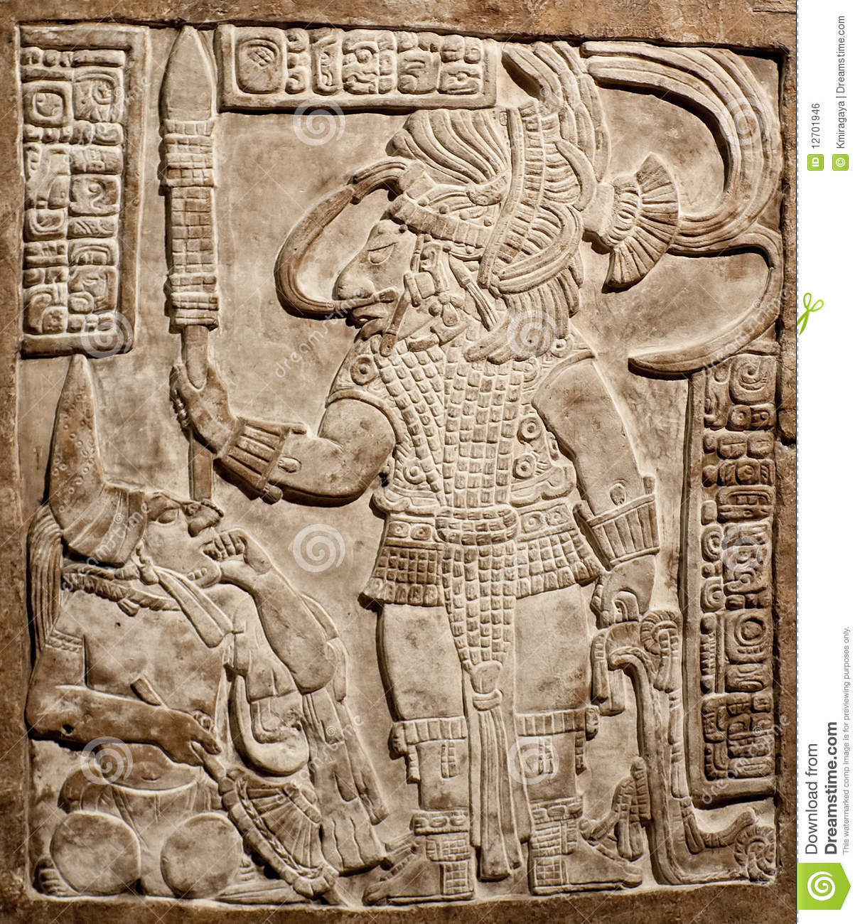Old mexican relief carved in stone royalty free stock