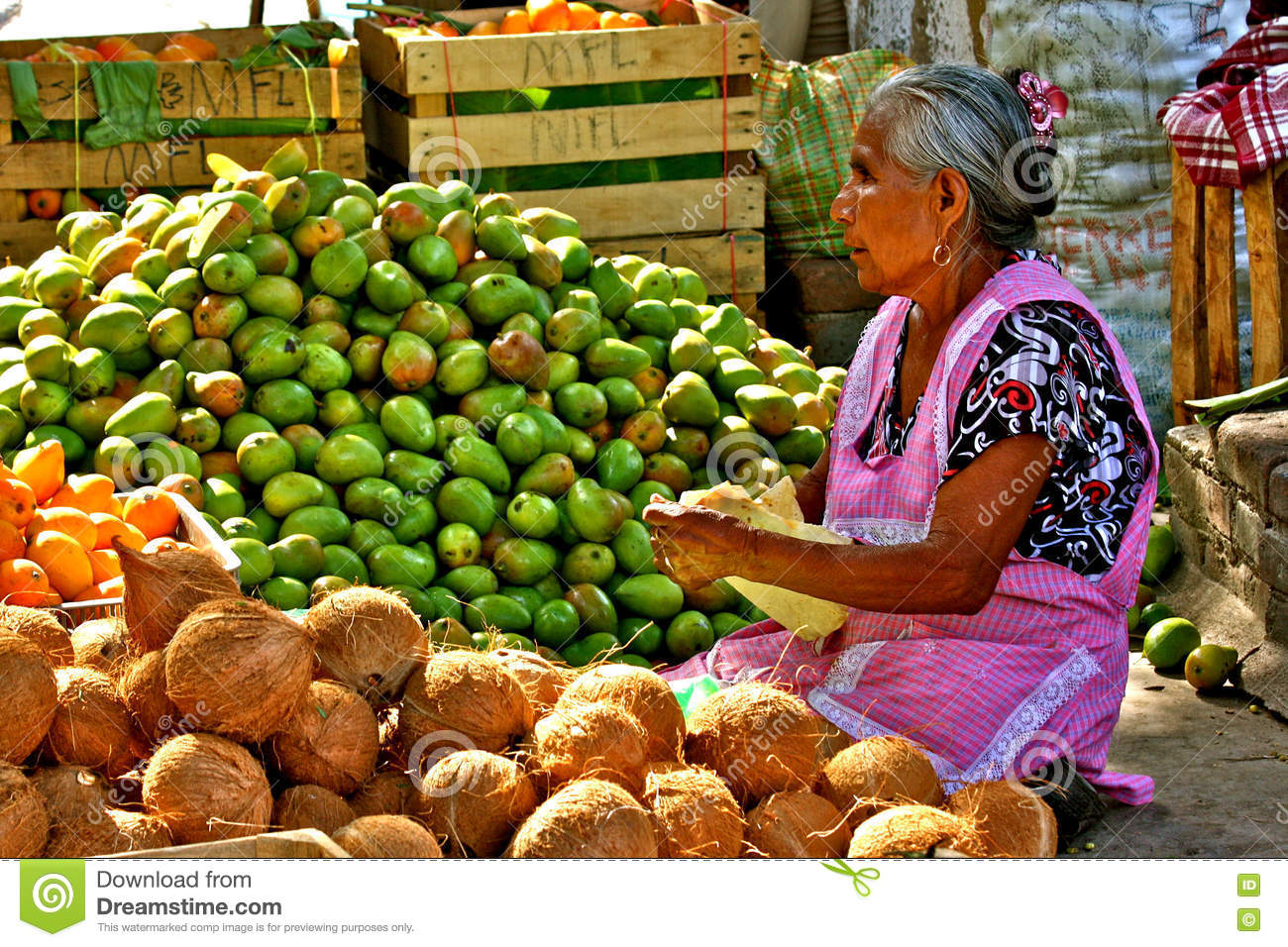 Old Mexican Woman Selling Fruits At Market Editorial Photo Image