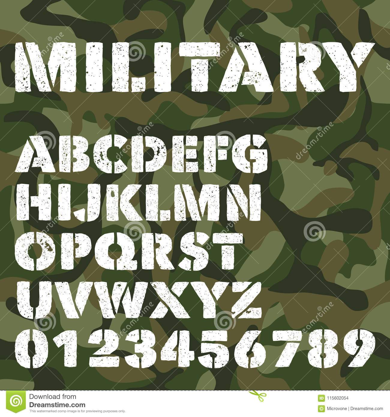 Old Military Alphabet, Bold Letters And Numbers On Army