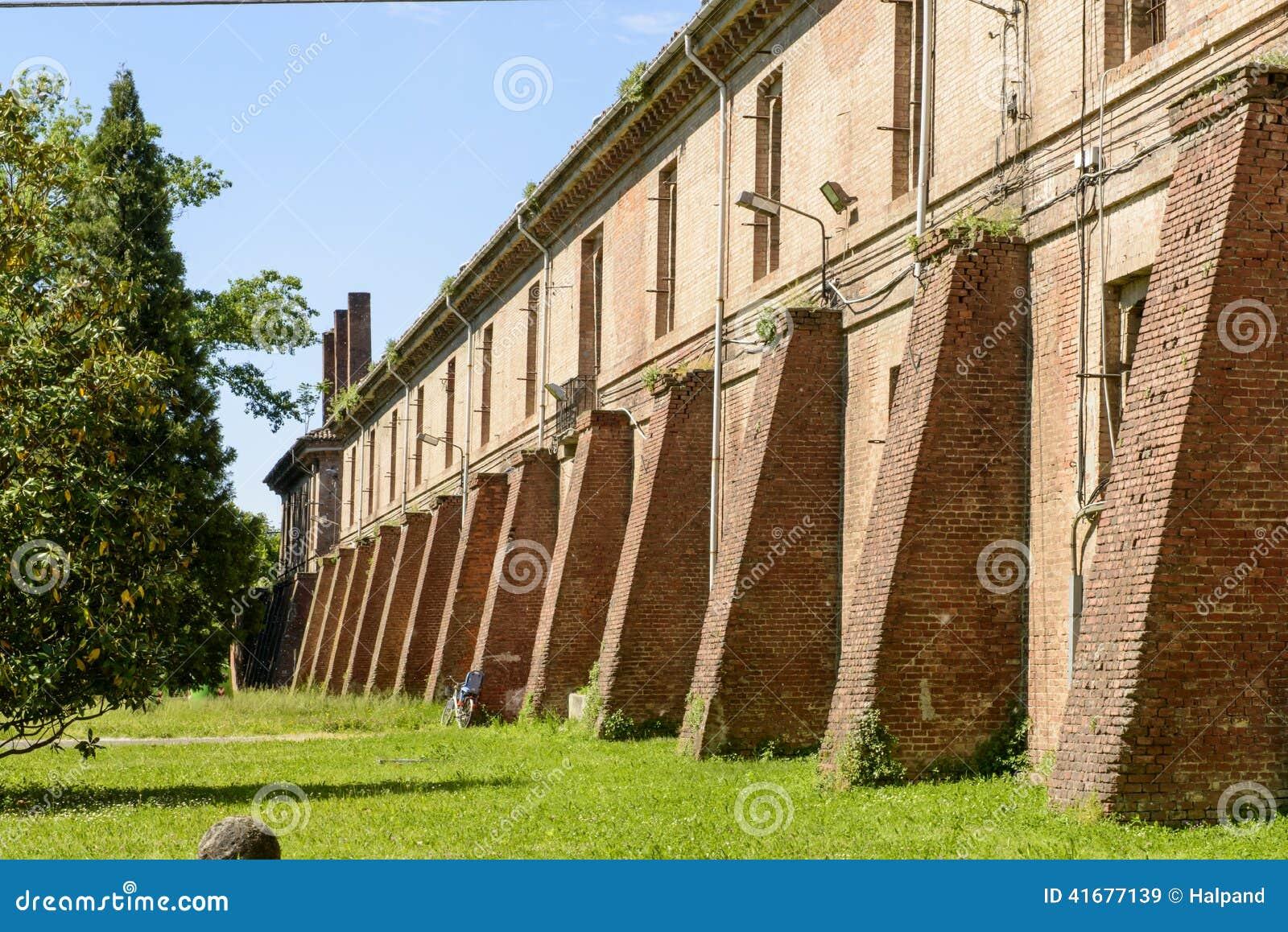 Old military building inside Cittadella, Alessandria, Italy