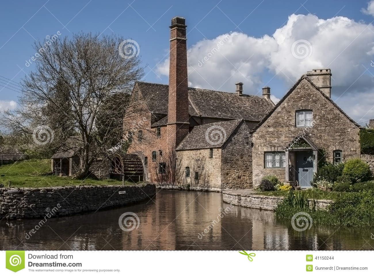 old mill  lower slaughter stock photo