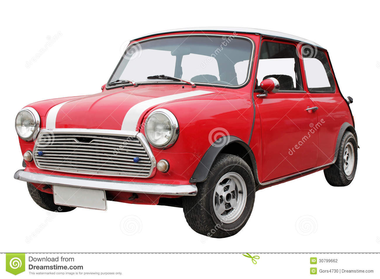 old small red car isolated on a white background