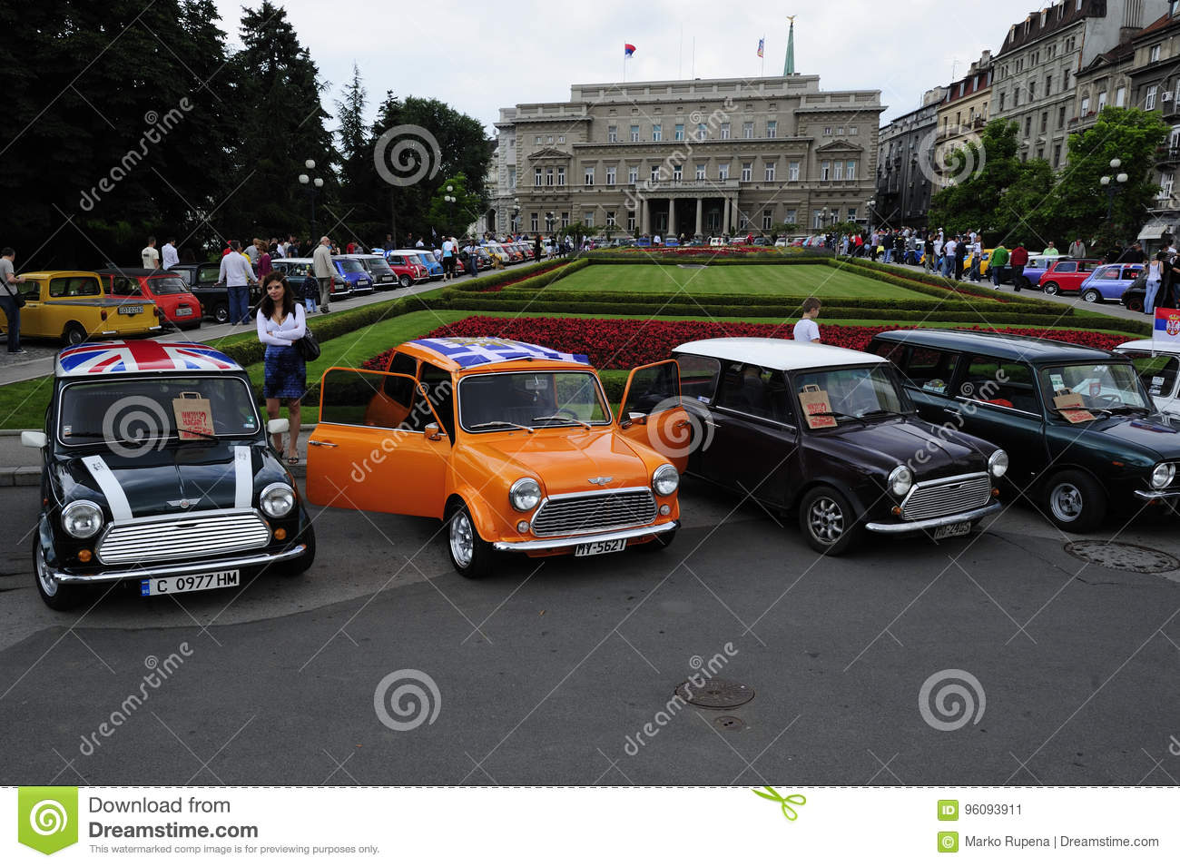 Old Mini cars exhibition editorial photo. Image of transportation ...