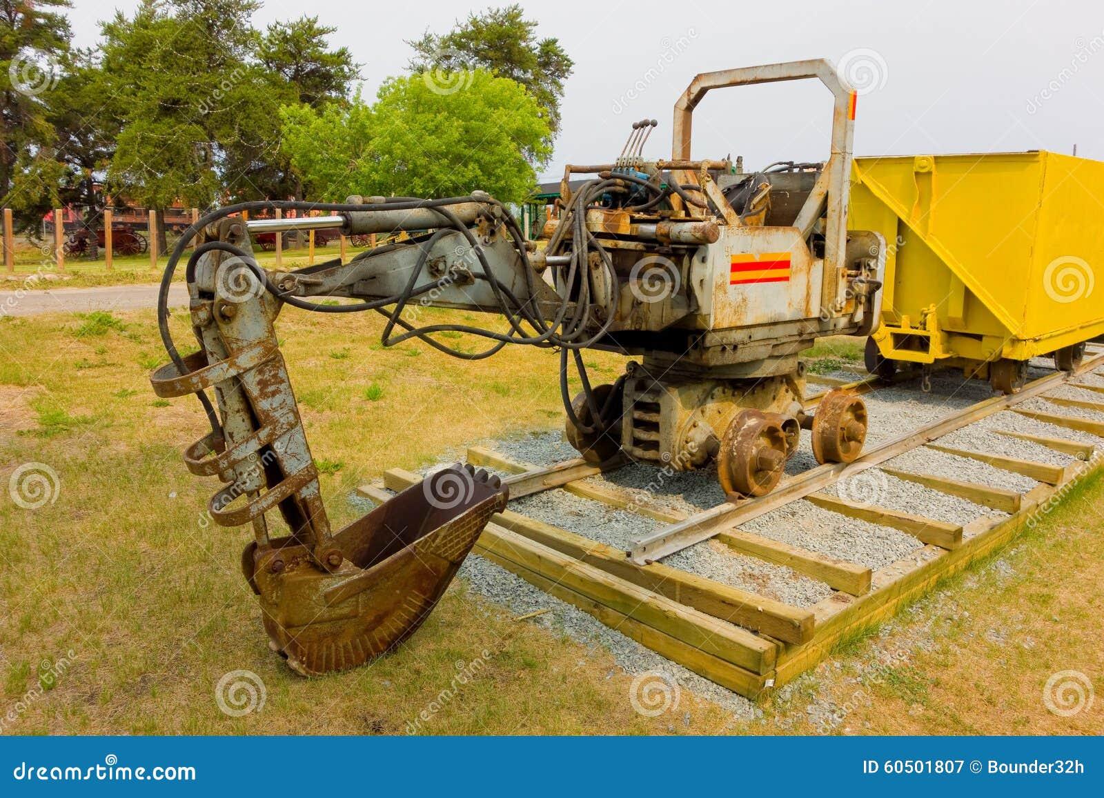 Mini Mining Equipment : An old mini excavator for underground mining stock photo