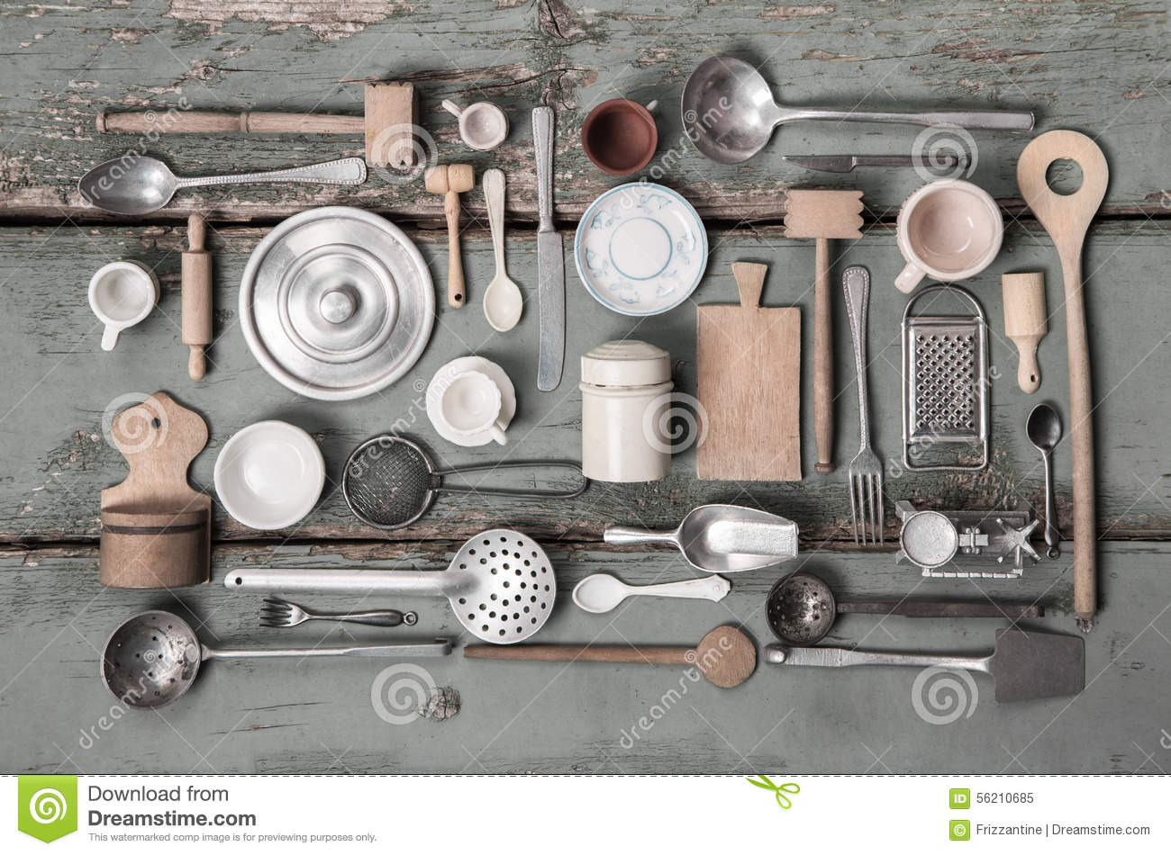Old Miniatures Of Kitchen Equipment For Decoration Stock