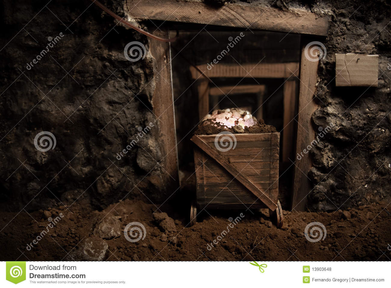 Download Old Mining Car Inside Tunnel Stock Photo - Image of rail, carbon: 13903648