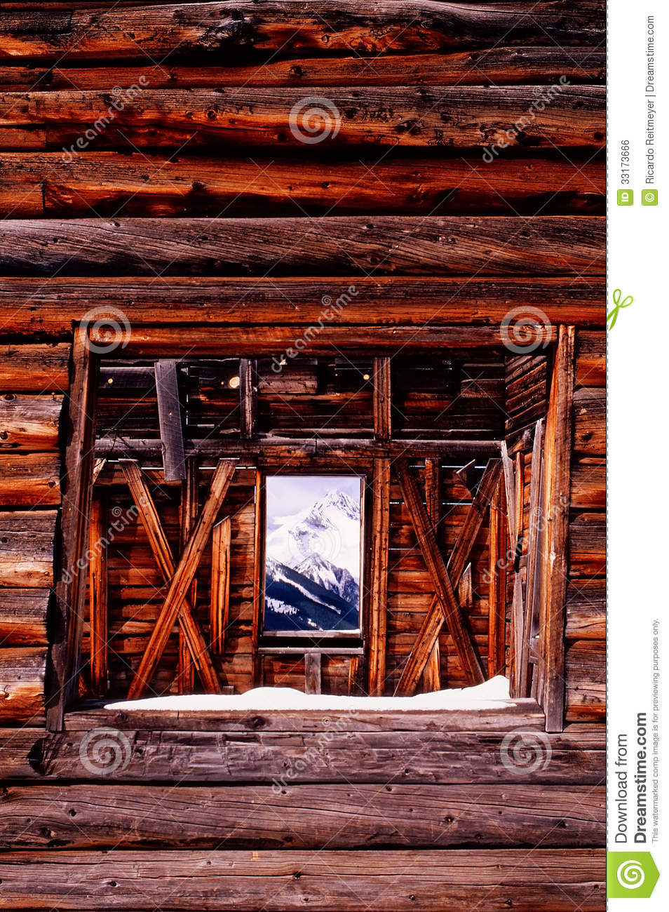 Old mining log cabin with mountian view through wi royalty for Windows for log cabins