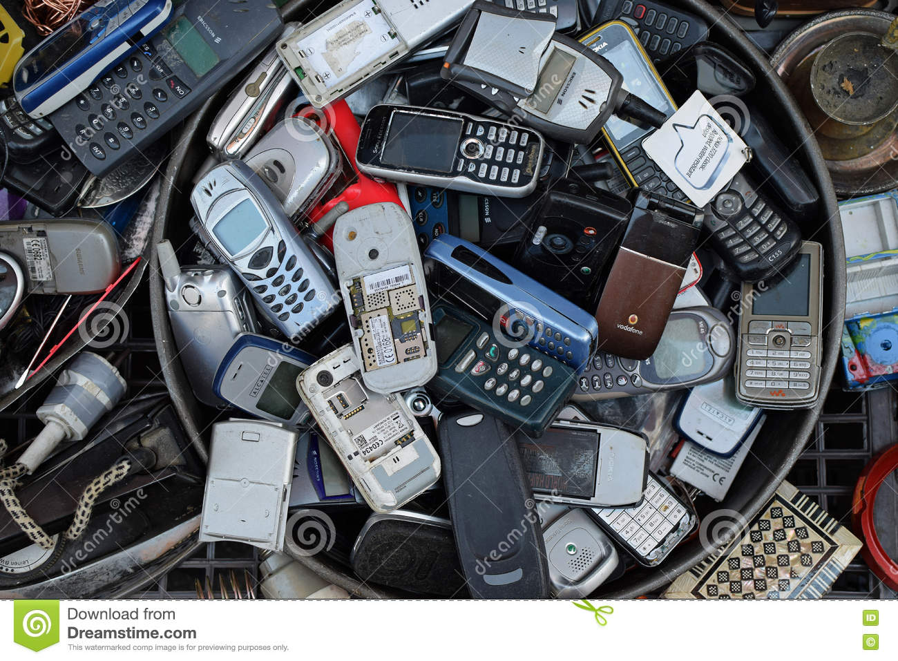 Pile Of Cell Phones : Old mobile cell phones editorial stock photo image